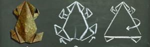 Origami-Frosch mit Faltanleitung (Kreide auf Tafel)